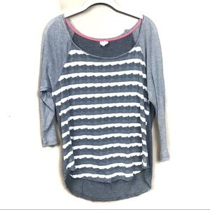Anthropologie one September Gray striped top m